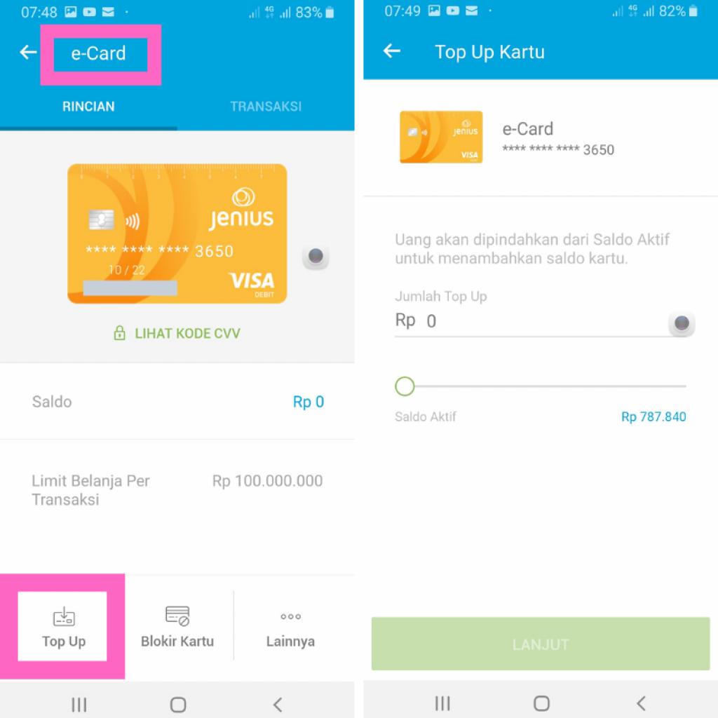 e-card Jenius Kartu Kredit